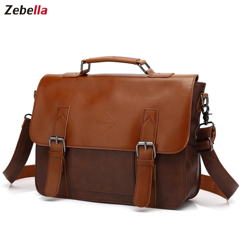 Zebella Vintage Mænds Business Briefcases Pu Læder Brun Mens Laptop Messenger Tasker Classic Portfolio Document Office Taske Ny