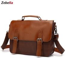 Zebella Vintage herren Business Aktentaschen Pu Leder Braun Herren Laptop Messenger Taschen Klassische Portfolio Dokument Büro Tasche Neue