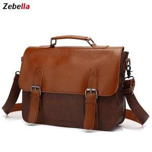 Image 1 - Zebella حقائب رجال الأعمال خمر بو الجلود براون رجل محمول حقيبة ساع المحفظة الكلاسيكية وثيقة حقيبة مكتب جديد