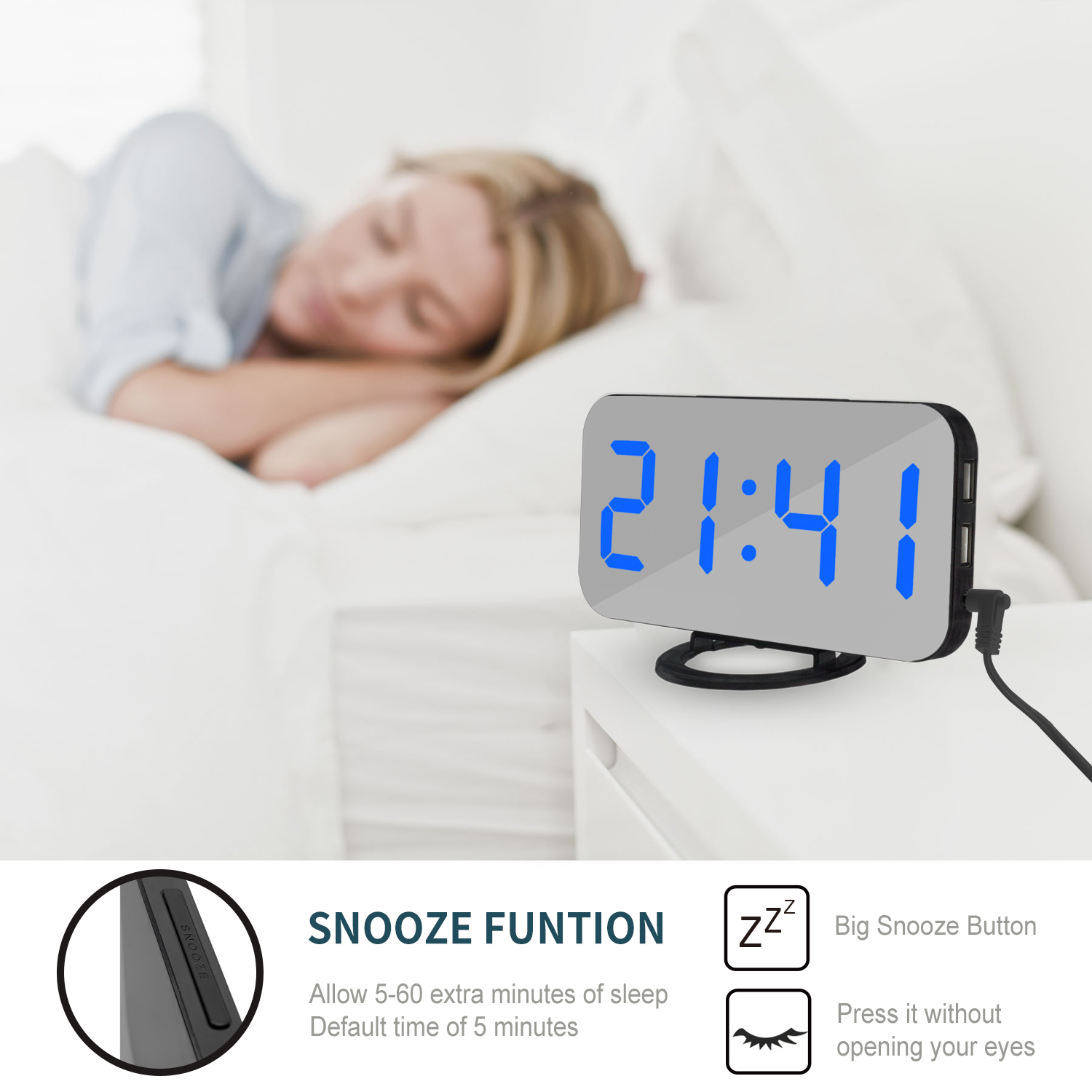 Image 2 - LED Voice Control Large Alarm Clock large number Display nixie Electronic Snooze Backlinght Desktop Digital Table Clocks Watch-in Alarm Clocks from Home & Garden