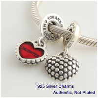 Fit for Pandora Bracelet Free Shipping Authentic 925 sterling Silver fashion Threaded Charms Mother & daughter Silver Beads Hot