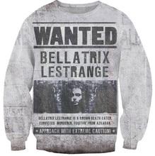 2016 New Fashion Harry Potter Bellatrix Lestrange Crewneck Sweatshirt frauen/männer harajuku vintage hexe print 3d hoodies sweats