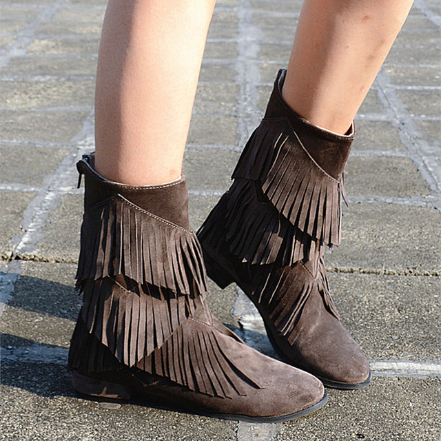 Women Gladiator Fringe Boots Casual Flatform Ankle Boots