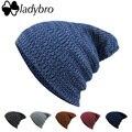 Chapéu de Lã de Inverno Mulheres Homens Skullies Ladybro Tampão Feito Malha das Mulheres marca Baggy Cap Bonnet Gorros Cap Hat Para Feminino Masculino capô