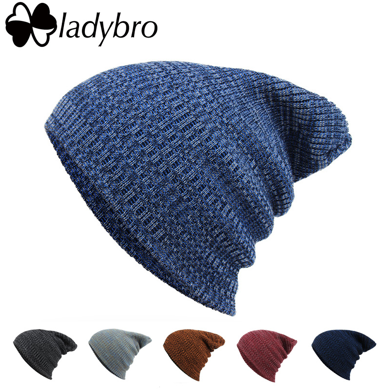 Ladybro Winter Wool Hat Women Men Skullies Cap Knitted Women's Brand Bonnet Beanies Hat Cap For Female Male Baggy Cap bonnet wool skullies cap hat 10pcs lot 2289