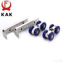 KAK Light Sliding Door Roller 4 Wheels Home Room Wood Door Hanging Wheels Rail Track Pulley
