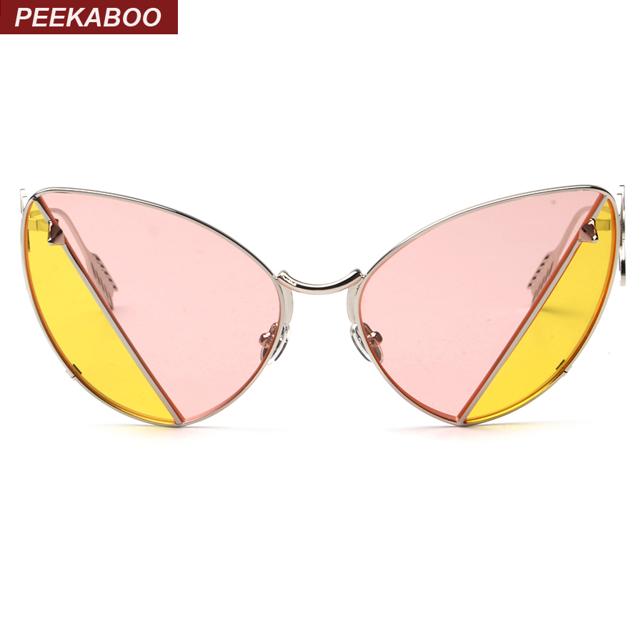 Peekaboo Fashion retro metal frame sexy cat eye sunglasses for party vintage two tone sunglasses pink yellow tinted lens oculos