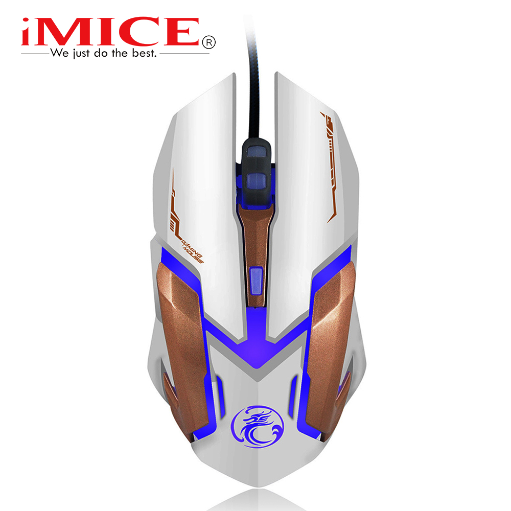 imice Wired Gaming Mouse USB Optical Mouse 6 Buttons PC Computer Mouse Gamer Mice 4800dpi For Dota 2 LOL Game V6 цена и фото