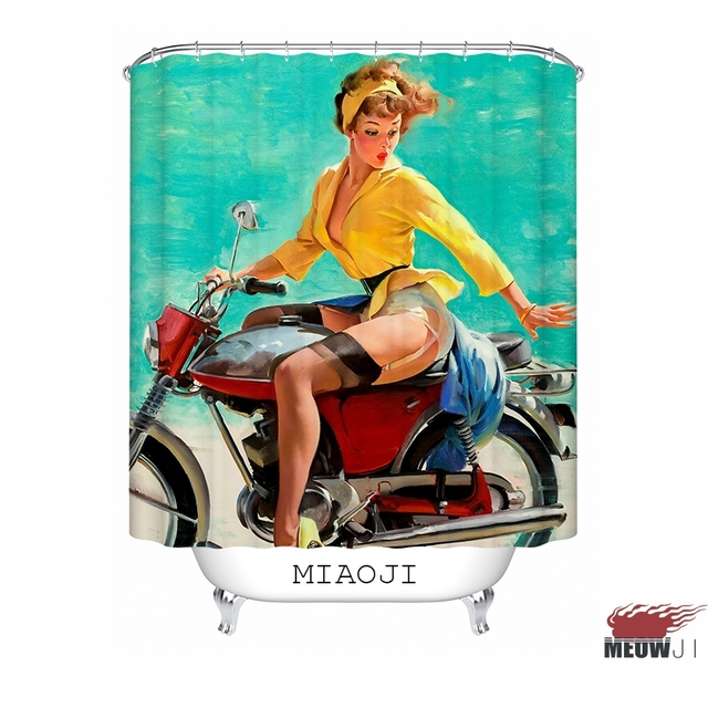 Sexy Pin Up Girl Vintage Illustrations Custom Shower Curtain Bathroom Decor Various Sizes Free Shipping