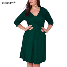 4XL 5XL 2019 Winter Autumn Plus Size Dresses Casual Large Lady Office Dress Green Sexy Deep V-Neck Big Party Vestidos
