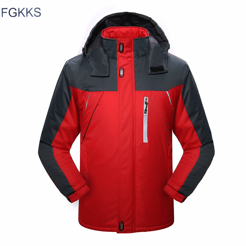 FGKKS Men Winter Parkas Jacket 2019 New Fashion Warm Thick Splice Mens Hooded Coat Male Casual Parkas Overcoat