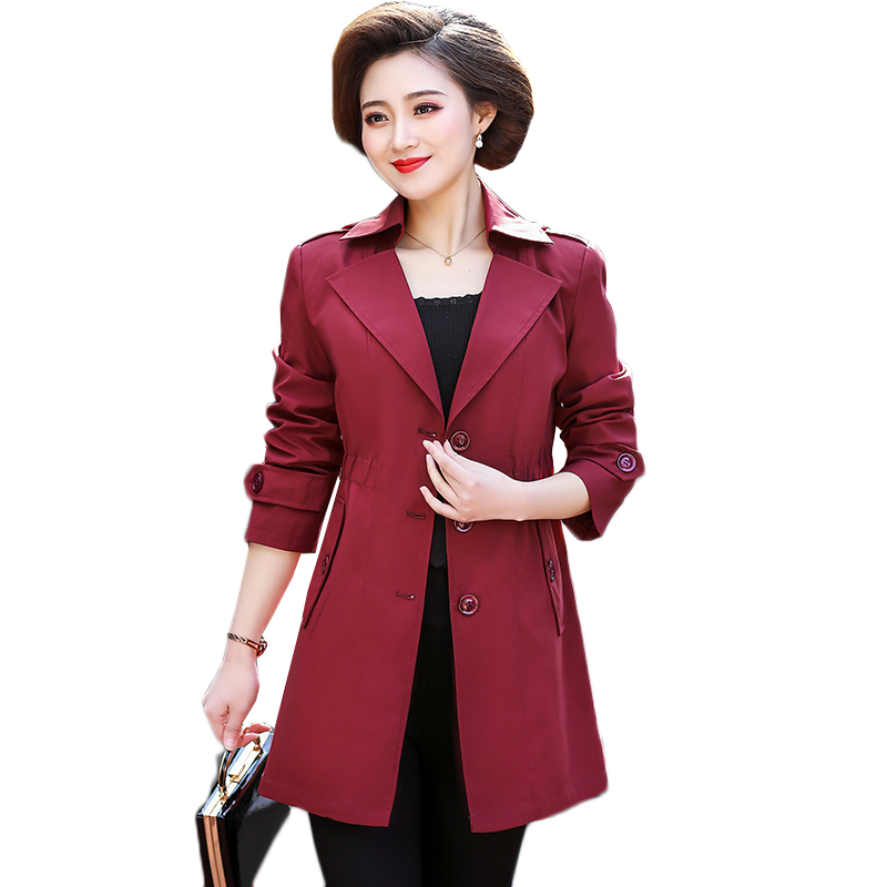 Spring Autumn Plus Size 5XL Windbreaker Female Thin Medium Long Coat Basic Coat Women   Trench   Coat RE2520