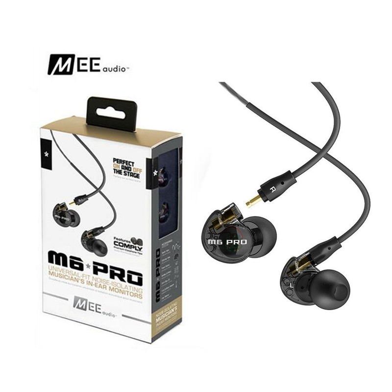 24 Hours Shipping MEE Audio M6 PRO Noise Canceling 3.5mm HiFi In-Ear Monitors Earphones with Detachable Cables Wired Headphones  dhl free 2pcs black white m6 pro universal 3 5mm wired in ear earphone noise isolating musician monitors brand new headphones