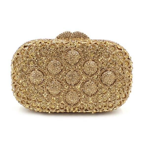 New Las Wedding Gold Clutch Purse Evening Bag Women Crystal Female Socialite Style Party Purses