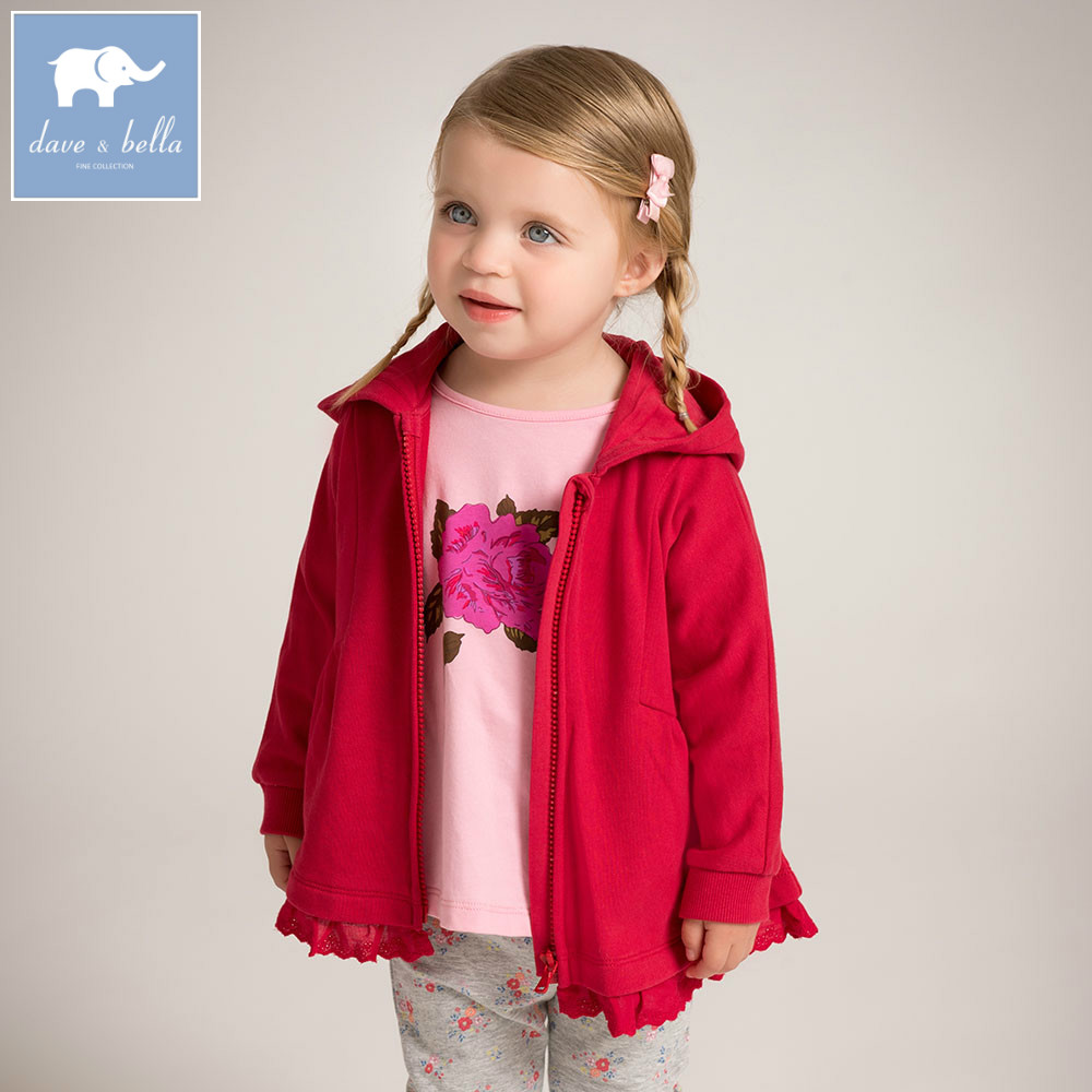 DB6042 dave bella baby girls hooded coat kids red clothes children high quality lovely coat rib cuff zippered hooded coat