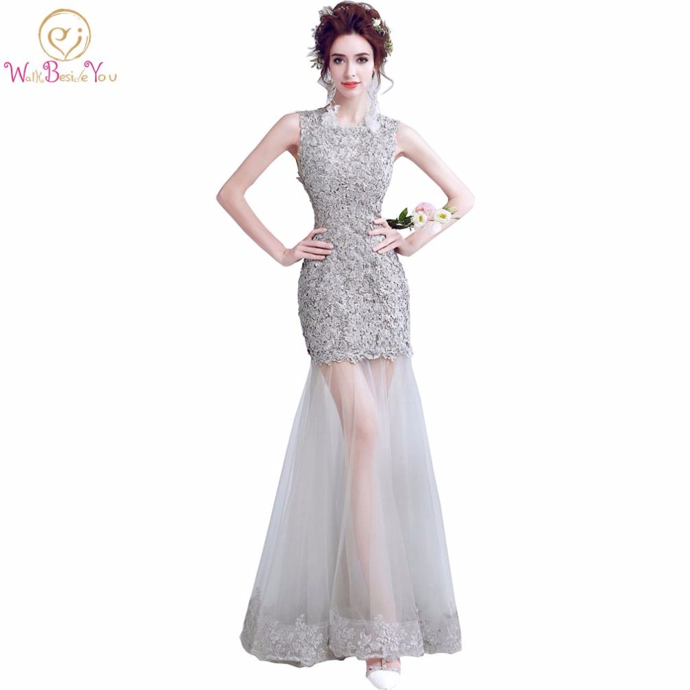 Walk Beside You vestido formatura Gray Evening Dresses Lace Applique Mermaid Cut Out Prom Gown Keyhole