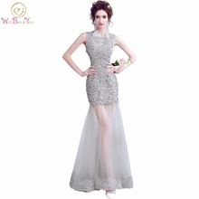 Walk Beside You vestido formatura Gray Evening Dresses Lace Applique Mermaid Cut Out Prom Gown Keyhole Back Dress for Graduation