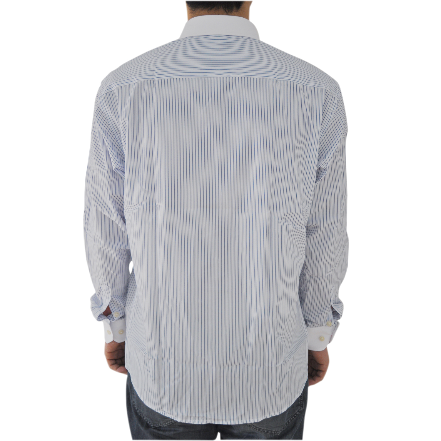 c7e99bfcc6a Men Shirts Pinstripe Long Sleeve Man Dress Shirt Cotton Slim White Collar  New Casual Social Shirt 8101