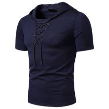 Mens T Shirt 2019 Summer Slim Fitness Hooded Short-Sleeved Drawstring Tees Male Camisa Masculina Sportswer T-Shirt Homme Eu 2XL