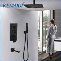 KEMAIDI 3 way черный цифровая для душевой смесители набор осадков Душевая Головка Цифровой, температурный дисплей смеситель кран вращающийся кр