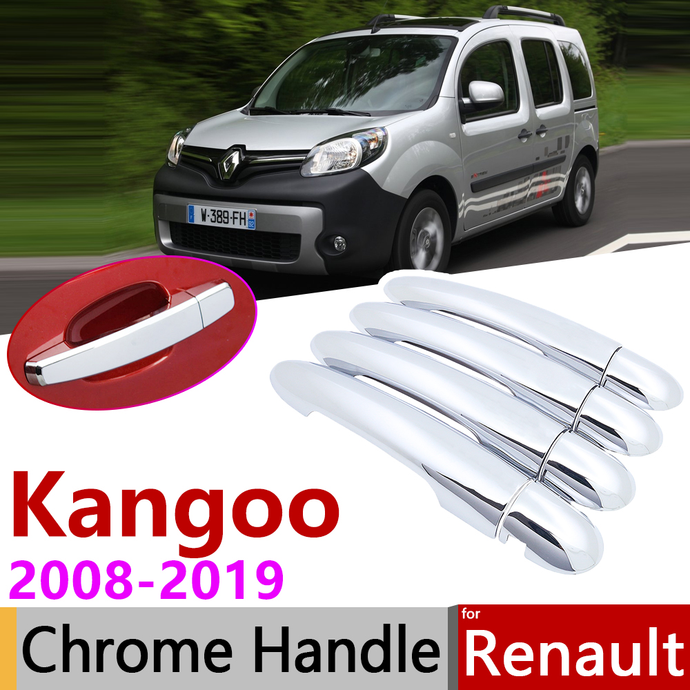 For Renault Kangoo II MK2 2008~2019 Chrome Door Handle Cover Car Accessories Stickers Trim Set 2009 2010 2012 2014 2016 2018