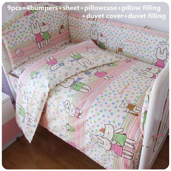 Promoção! 6/7 PCS conjuntos de cama berço do bebê 100% algodão crianças cama com a folha de cama, 120*60/120*70 cm
