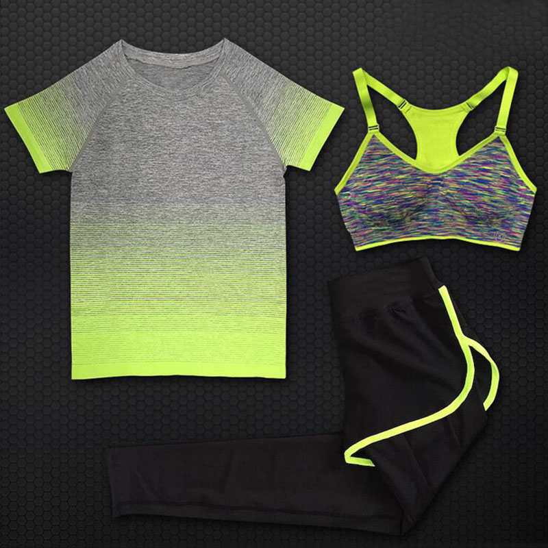 ONEONEY Women Quick Dry Yoga Sets for Gym Running Yoga T-Shirt Tops & Sports Bra Vest & Fitness Pants Workout Sports Suit Set ...