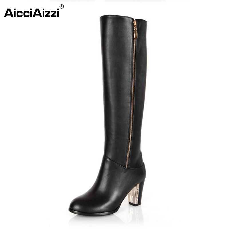 Women Genuine Real Leather Knee Boots Winter Snow Boots Sexy High Heel Fashion Zipper Women Riding Boots Shoes Plus Size 30-45 women genuine real leather over the knee boots winter boots sexy high heel fashion round toe zipper women boots shoes size 33 42