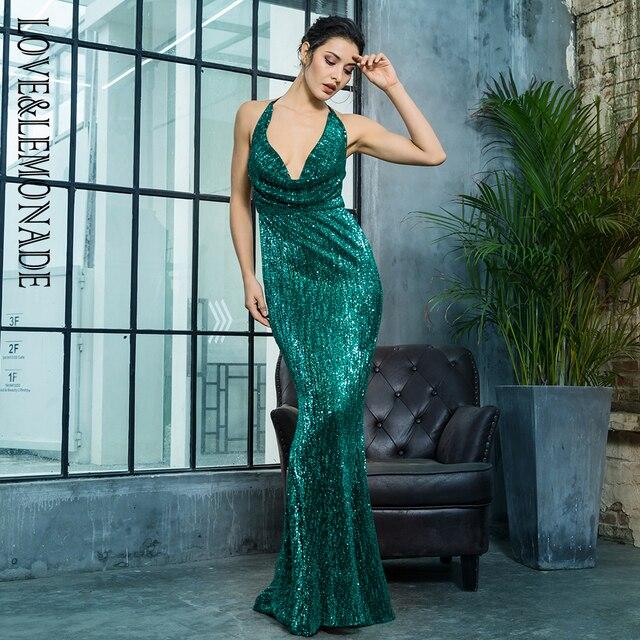 Love Lemonade Sexy V-Neck Open Elastic Sequins Long Dress LM81462GREEN 900c1a0d45ea