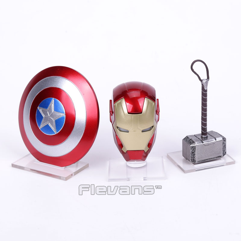 Avengers 2 Iron Man MK43 LED Light Helmet Captain America Shield Thor Hammer With Acrylic Base Mini Action Figure Toys new hot 17cm captain america civil war avengers iron man mk43 action figure toys collection christmas toy doll with box