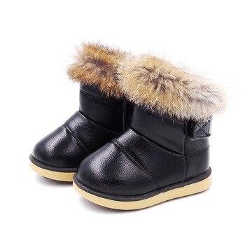Zapatos cómodos para niños botas para niñas botas de nieve zapatos de suela de goma para niñas zapatos de algodón para nieve al aire libre tobillo de felpa botas Niña