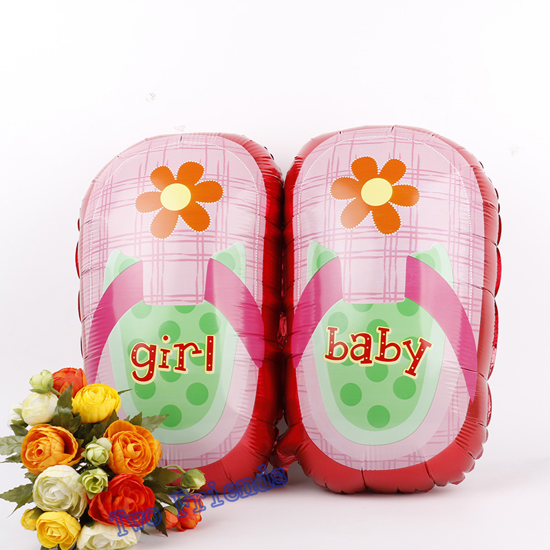 Baby shoes shape foil balloons 2kinds Baby Shower globo supplies 10pcs boy girl Balloon birthday party decoration kids toys