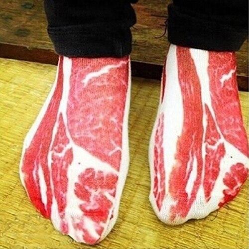 1 Pair Women Men Funny 3D Pork Meat Bacon Low Cut Casual Ankle   Socks