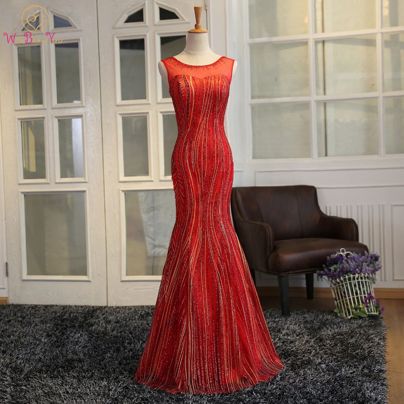 Walk Beside You Red Evening Dresses Mermaid Sleeveless Long Sequined Shiny Vestido De Festa Largos Elegantes