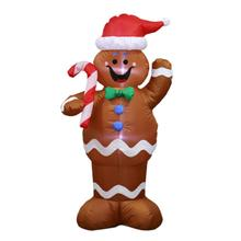 Inflatable Christmas Gingerbread Snowman Decoration For Merry Christmas Indoors Outdoors Yard Home Garden Ornament недорого