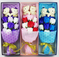 1PC Box Handmade Soap Flower Material Artificial Flowes Plush Bear Take Roses Home Wedding Decoration For
