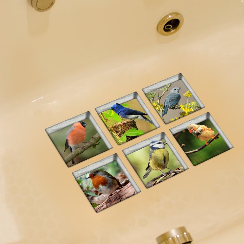 2017 6pcs 13x13cm Bird Pattern 3D Anti Slip Waterproof Bathtub Sticker