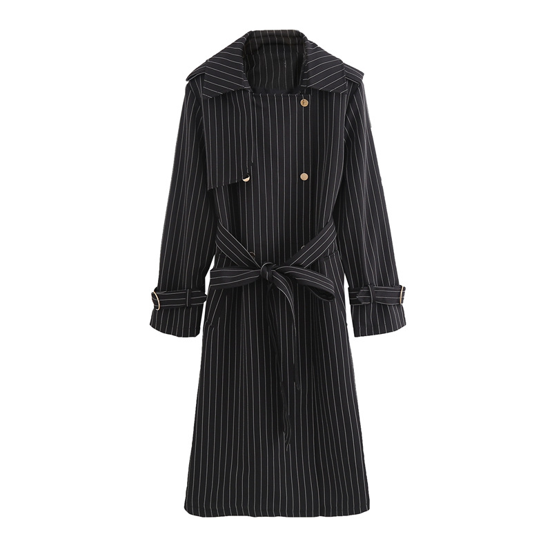 Large Size Women's Thin Striped Windswear Classic Double Breasted Belt High quality   Trench   coat Casual Business Outerwear