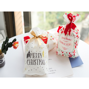 Image 4 - 10pcs Golden Christmas Tree Gift Bags Biscuit Plastic Cake Drawstring Bag for Xmas Party Home Decoration bolsas regalo navidad