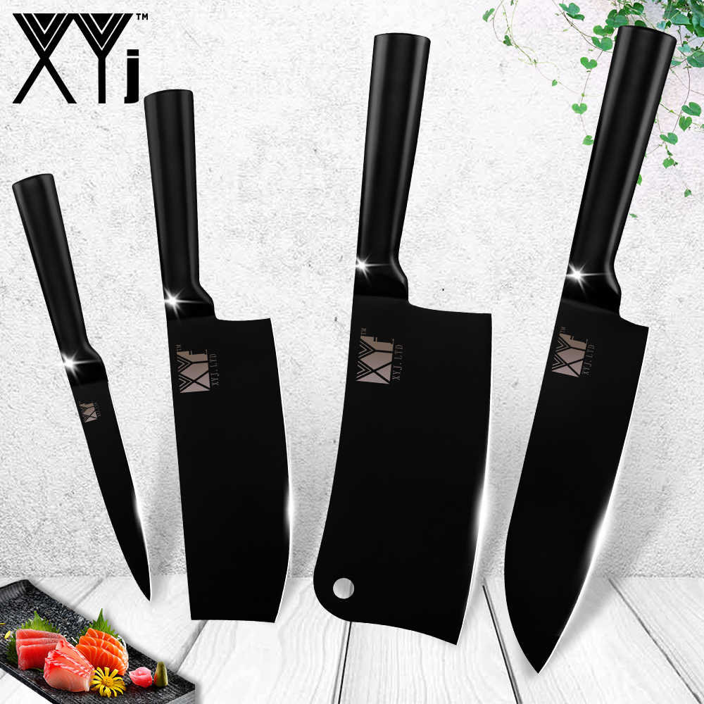 XYj Stainless Steel Knives Japanese Chef Kitchen Knives Ultra Sharp Blade Santoku Meat Cleaver Knife Utility Knife Cooking Tools