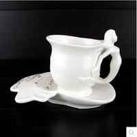 Promotion! Creative Mermaid Coffee Cup and Saucer Ceramic Coffee cup Full Set of Flower Cups with Dish