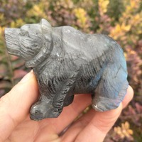 Natural labrador stone carving bears as home decoration