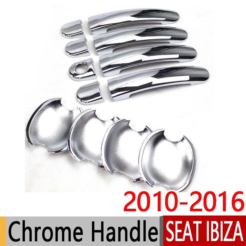 Für SEAT Ibiza 2010-2016 6J Chrome Türgriffblenden Trim Set 2011 2012 2013 2015 FR Cupra Autozubehör Aufkleber Auto Styling