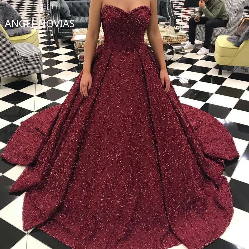 Long Luxury Arabic Ball Gown Burgundy Lace Evening Dress 2019 with Pearls Saudi Arabia Dubai Moroccan Sexy Formal Prom Gowns