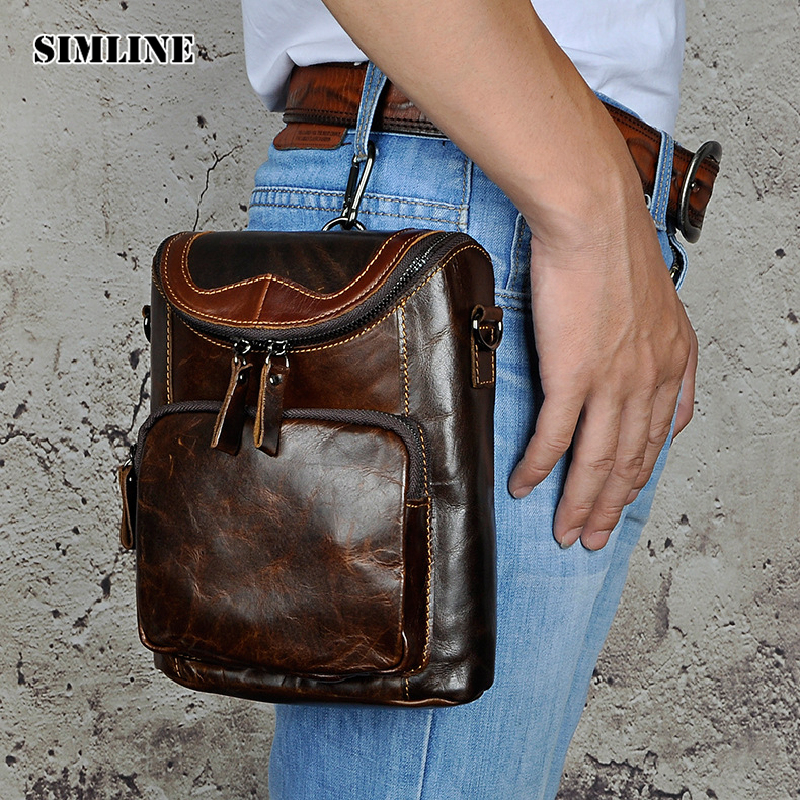 SIMLINE Vintage Casual Genuine Leather Cowhide Men Mens Waist Bag Pack Packs Small Shoulder Messenger Crossbody Bags Phone Pouch aetrue brand men snapback women baseball cap bone hats for men hip hop gorra casual adjustable casquette dad baseball hat caps