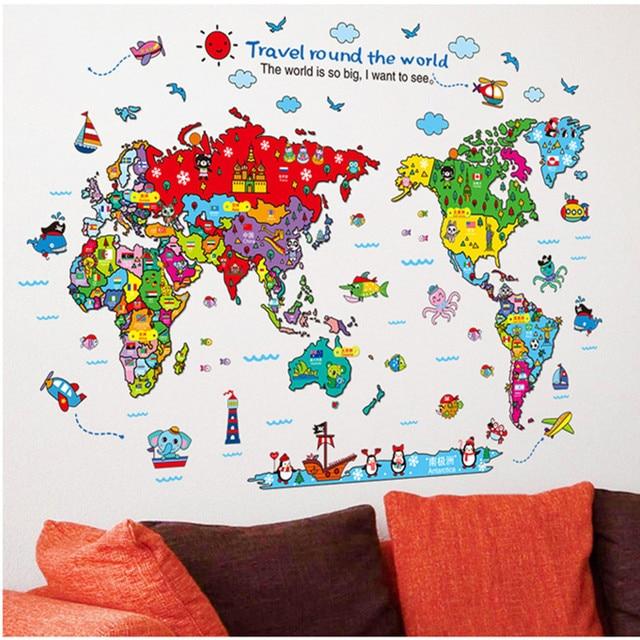 Animal world map etiqueta de la pared removible etiqueta engomada animal world map etiqueta de la pared removible etiqueta engomada del arte nios parvulario home decor gumiabroncs Image collections