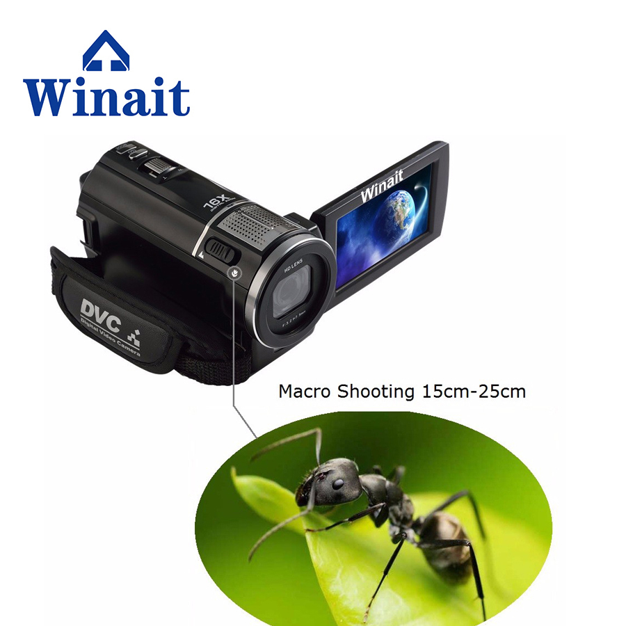 Winait Portable Digital Video Recorder Full-HD 1080P Super Wide Angle Lens Macro Shooting HDV Camcorder With 3.0 Touch Display