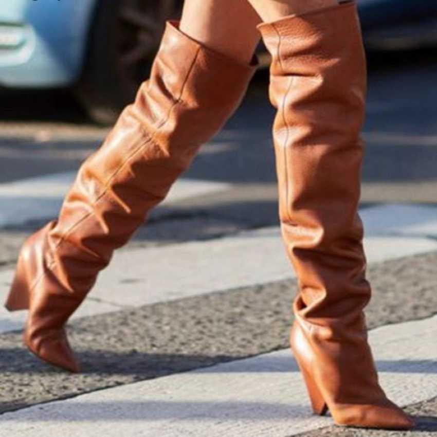 2019 herbst Winter Frauen Stiefel Fell Warme Leder Oberschenkel Hohe Stiefel Mode Sexy Über das Knie Stiefel High Heels Schuhe frau