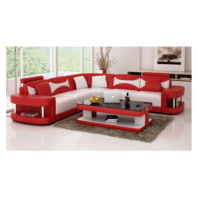 Wholesale living room furniture cheap leather corner sofa set 7 seater sectional sofa with Led light 1