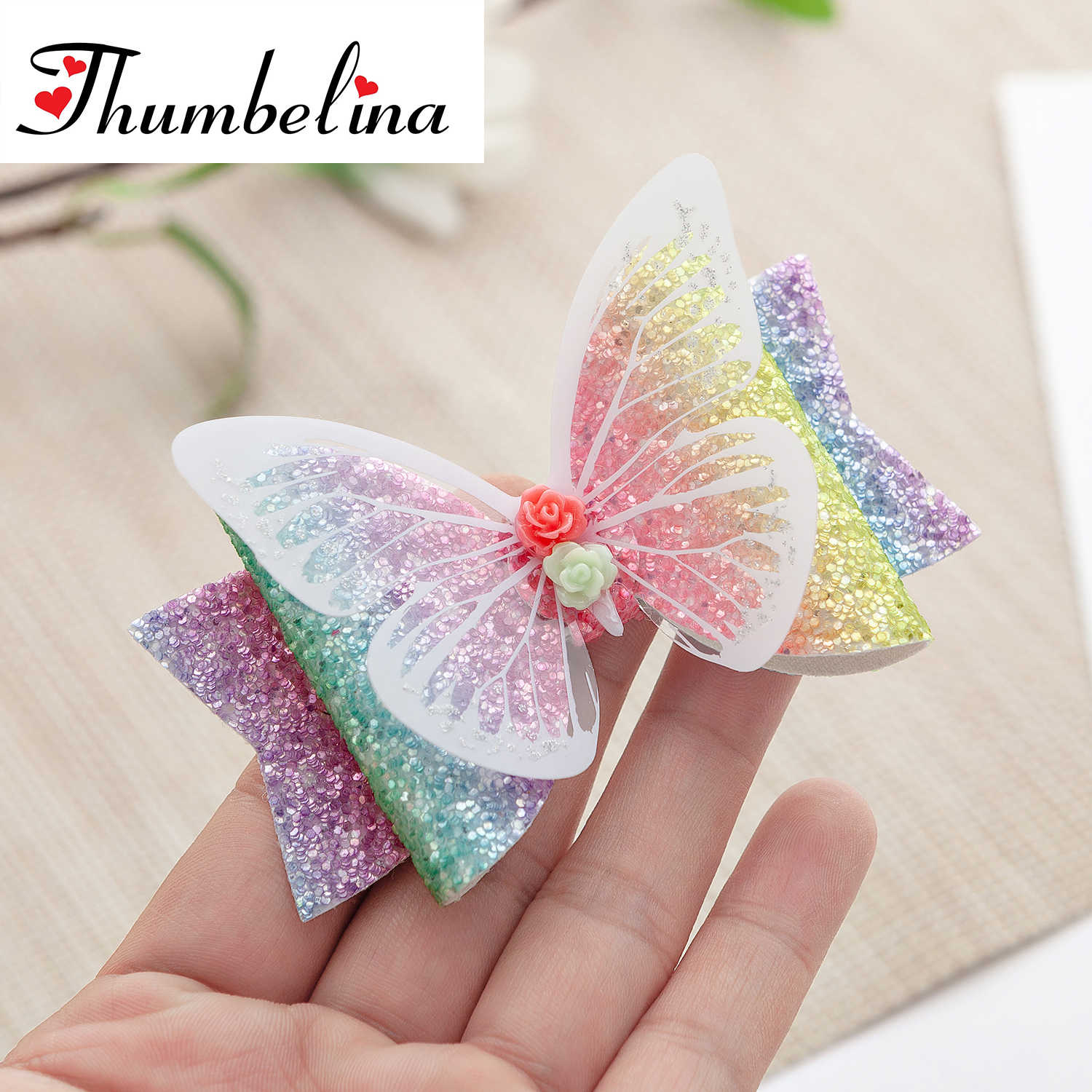 Thumbelina 3.5inch Butterfly Hairgrips Glitter Hair Bows with Clip Dance Party Bow Hair Clip Girls Hair Accessories